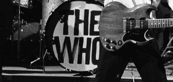 "Keith had a ""WHO"" logo bassdrum skin fitted for the actual performance. Notice that it is simply painted on the skin."