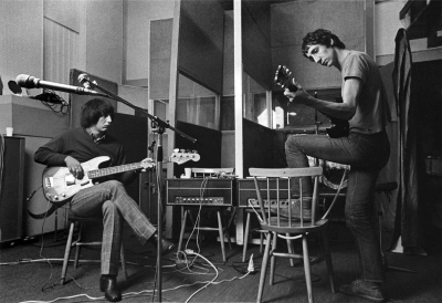 Ca. Spring 1969, recording sessions for Tommy, with both Pete and John using unlabeled customized Sound City L100 amplifier heads. Pete's guitar is 1968 Gibson SG Special.