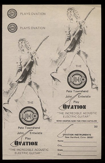 signature series endorsements pete townshend s guitar gear click to view larger version pete townshend ad for ovation guitars