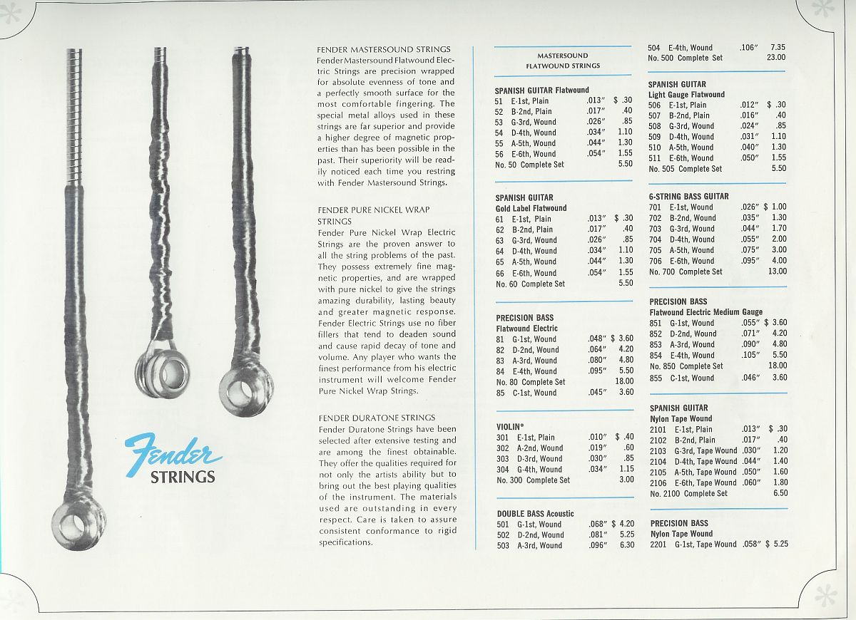 1966 Fender Strings Catalogue Page 1 Courtesy Hal